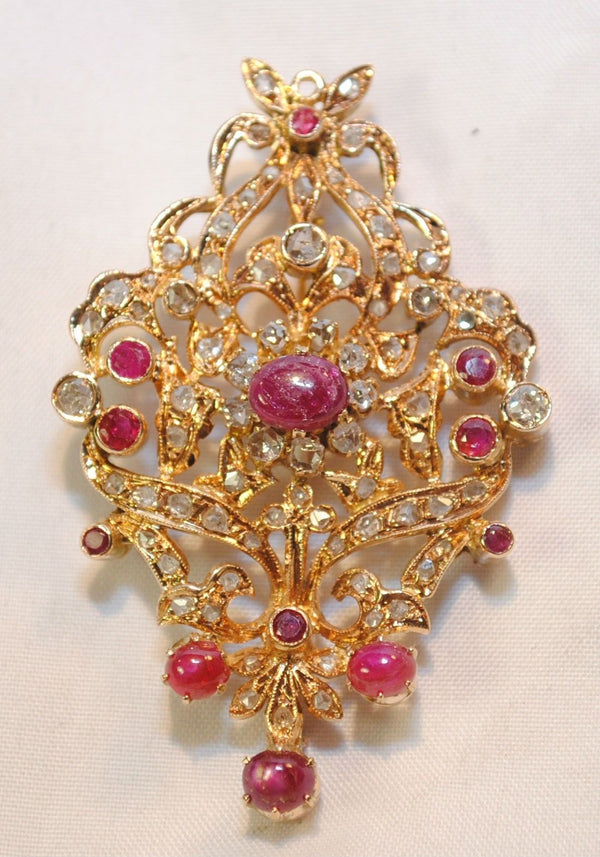 Antique Victorian Diamond & Ruby Brooch in 18K Rose Gold - $12K VALUE