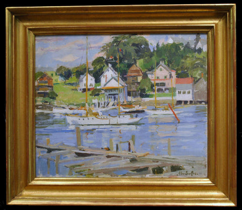 "1930s Signed George Oberteuffer ""Yacht Club, Boothbay Harbor"" Oil Painting - $40K VALUE"