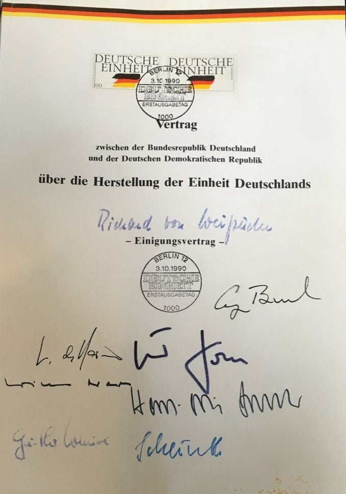 German Reunification Treaty Unique Document Signed Stamped 1990 - $250K VALUE