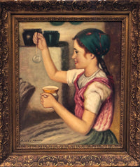 "Rozsa Karoly ""Girl Blowing Bubble"", Original Painting Oil, Signed, w/CoA - Appraisal Value: $10K*"