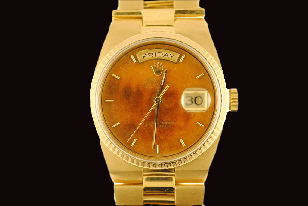 Rolex Day - Date Oyster Wristwatch in 18K Yellow Gold with Special Walnut Dial - $40K VALUE