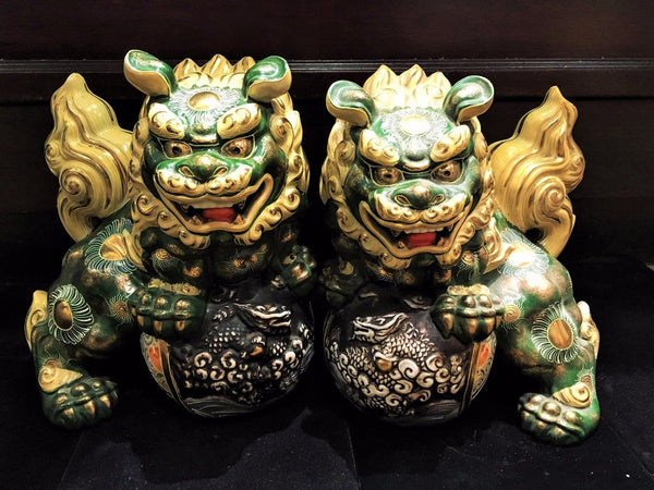 Pair of Antique Japanese Shi Statue Okimono Foo Dog Lion Stamped - $10K VALUE*