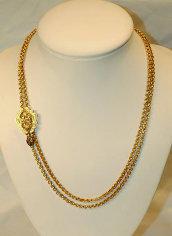 1900s Antique Diamond Slide Necklace in Solid 14K Yellow Gold - $20K VALUE