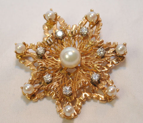 1950s Pearl and Diamond Star Brooch in 14K Yellow Gold - $8K VALUE