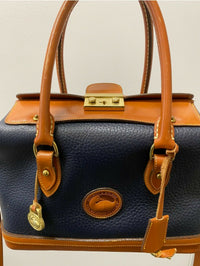 DOONEY & BOURKE Blue and Brown Pebble Leather Crossbody Satchel - $600 APR Value! ✓