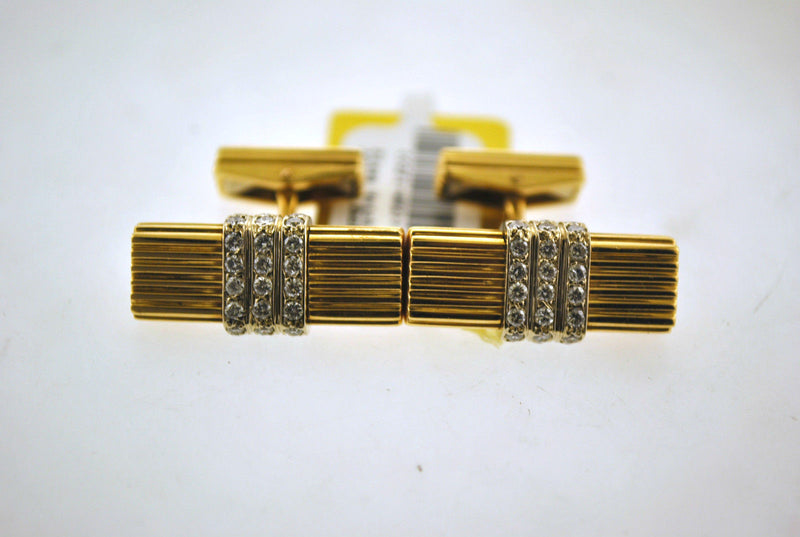 Designer Diamond Cuff Links in Solid 14K Yellow Gold with 2 Carats of Diamonds - $10K VALUE