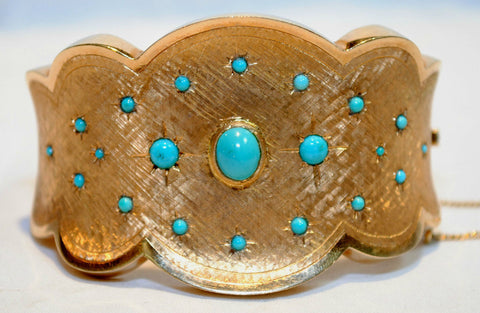 1940s Vintage 7.5 Carat Turquoise Bangle Bracelet in 18K Yellow Gold - $20K VALUE