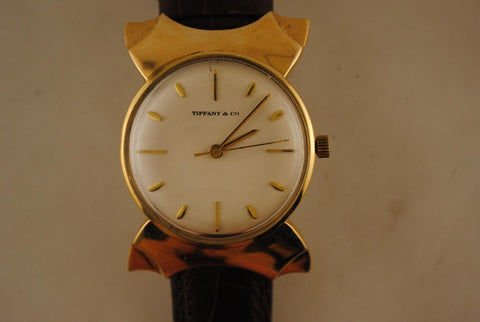 1940s Men's Vintage Tiffany & Co. Wristwatch in Solid Yellow Gold with Fancy Lugs - $25K VALUE