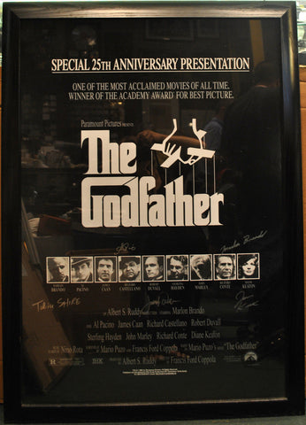 Pristine 5X Signed 'The Godfather' 25th Anniversary Poster with Marlon Brando & Al Pacino - $15K VALUE