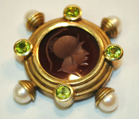 1940s Vintage 18K Yellow Gold Carnelian Intaglio Brooch with Pearls & Peridot - $10K VALUE