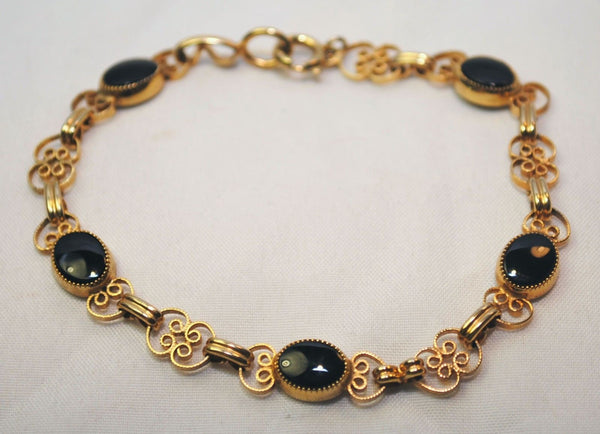 1950s Vintage Black Onyx Scroll Bracelet in 12K Yellow Gold - $6K VALUE