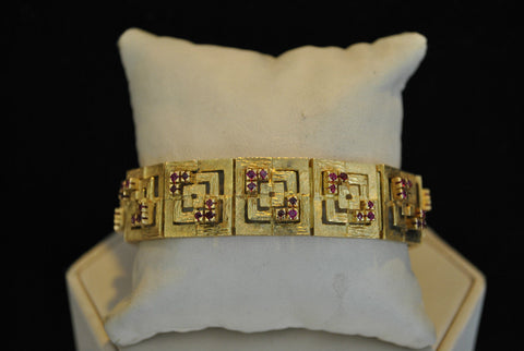 1940s Greek Key Motif 18K Yellow Gold Bracelet with 2.50 Carats of Set Rubies - $30K VALUE