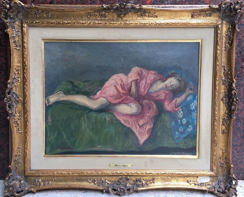 "Moses Soyer ""Resting Girl"" Original Signed Oil Painting circa 1940's - $25K VALUE"