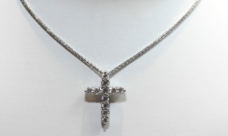 "Diamond Cross Pendant Necklace in Platinum on 20"" 14K White Gold Chain - $15K VALUE"