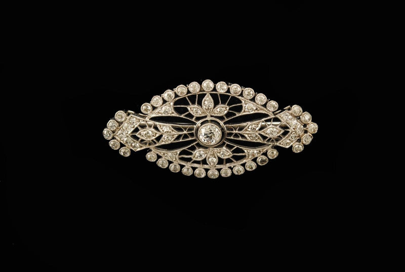Old Miners Cut Diamond Brooch in Platinum with 2 Carats of Diamonds - $15K VALUE
