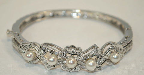 1950s Vintage Diamond & Pearl Hinged Bracelet in 14K White Gold - $15K VALUE