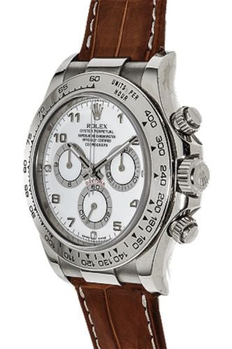 Rolex Men's Daytona Cosmograph Wristwatch in 18K White Gold with Brown Crocodile Strap - $30K VALUE