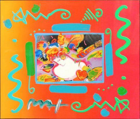 "Original Peter Max ""Flower Blossom Lady"" Mixed Media Piece Signed by Artist - $15K VALUE"