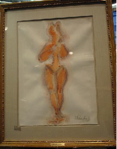 Chaim Gross, Original Watercolor Painting, 1950s - Signed - $20K Value