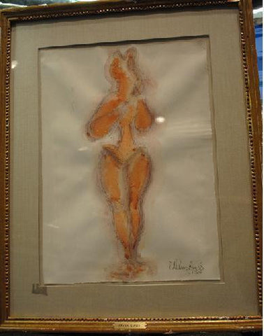 1950s Original Signed Chaim Gross Watercolor Painting - $20K VALUE