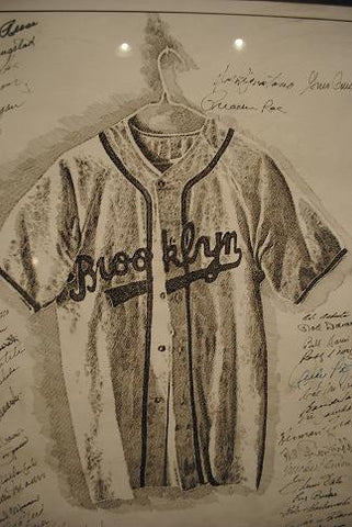 Murray Tinkelman Brooklyn Dodgers Lithograph with 46 Signatures from 1955 World Series Championship - $20K VALUE
