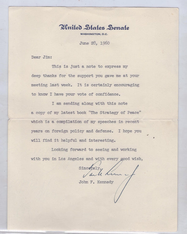 1960 Signed John F. Kennedy Letter to Benefactor - $20K VALUE
