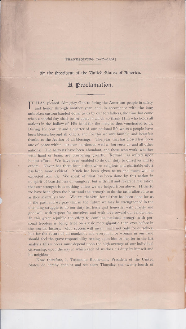 1904 Rare Historic President Teddy Roosevelt Signed Thanksgiving Proclamation - $20K VALUE