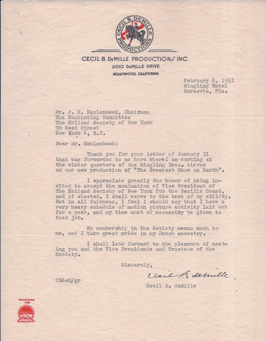 "Rare Signed Cecil B. DeMille Letter from the Filming of ""The Greatest Show on Earth"" - $20K VALUE"