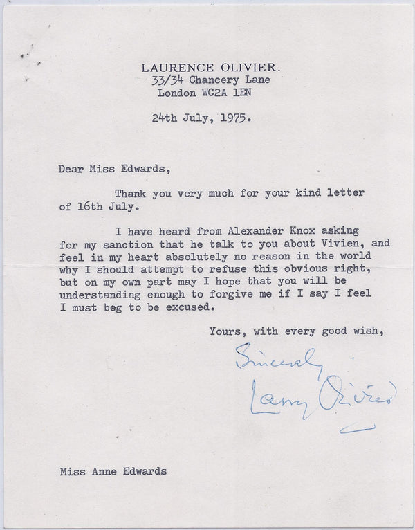 Actor Laurence Olivier Signed Letter to Vivien Leigh Biographer Anne Edwards - $10K VALUE