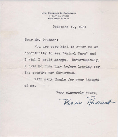 First Lady Eleanor Roosevelt Original Signed Personal Note to Writer Irving Drutman - $3K VALUE