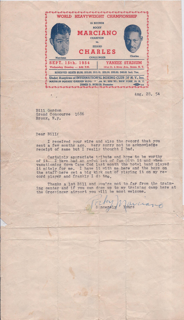 ROCKY MARCIANO Boxing Champion Signed Letter with 1954 Heavyweight Championship Letterhead - $10K VALUE*