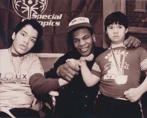 MIKE TYSON Heavyweight Champion Boxer at 1988 Special Olympics with Two Participants Photograph - $1K VALUE