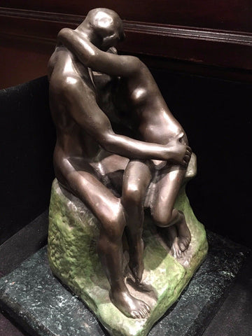 "A. Rodin ""The Kiss"" Statue Reproduction Signed Marble & Brass - $3K VALUE"