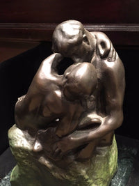 "A. RODIN ""The Kiss"" Statue Reproduction Signed Brass & Marble - $3K VALUE*"