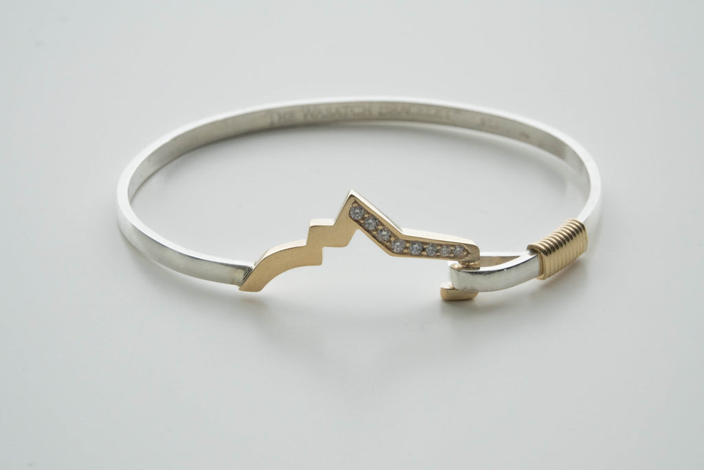 2-Tone (14K gold/Sterling Silver) Wasatch Bracelet Bangle with 8 diamonds