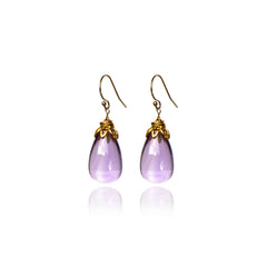 bonbon smooth drop amethyst earrings