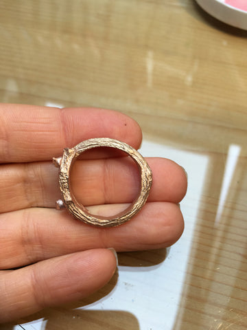 cast ring in 9 carat rose gold
