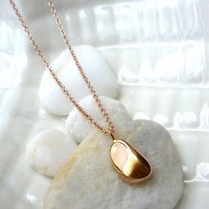Paradiso Solid Gold Pebble Pebble Charm Necklace
