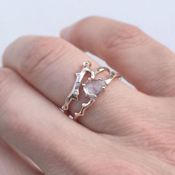 Twig Engagement Ring in 9 carat rose gold with rose cut white Ceylon sapphire