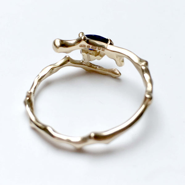 Twig Engagement Ring in 9 carat gold with pear cut Australian blue sapphire