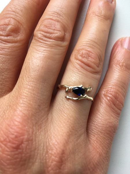 Twig Engagement Ring in 9 carat gold with pear cut Australian blue