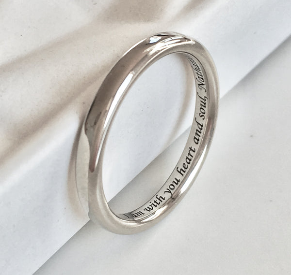 Personalised Gold Classic Wedding Band with Custom Engraving