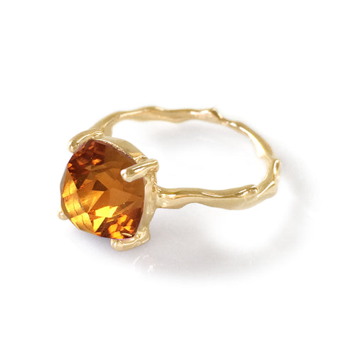 Twig Statement Ring with Cushion Cut Citrine