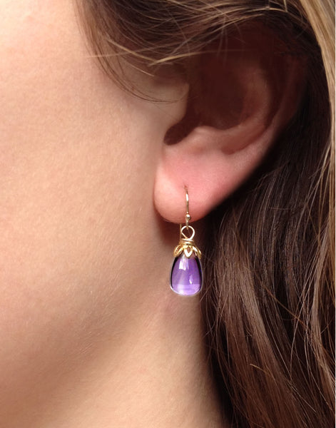 Bonbon - Smooth Amethyst Drop Earrings