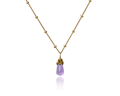 Bonbon Mini - Smooth Amethyst Drop Necklace