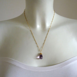 Bonbon - Smooth Amethyst Drop Necklace