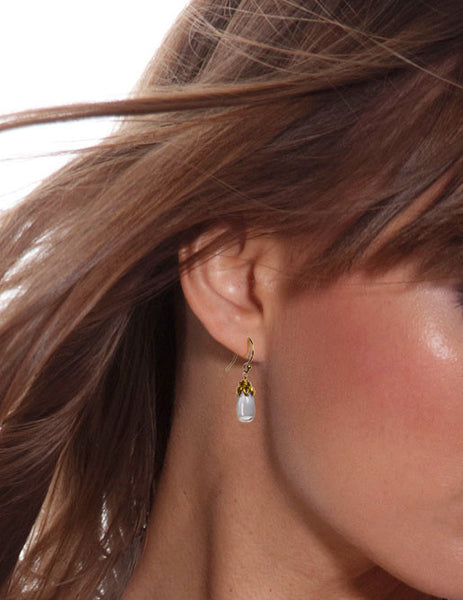 Bonbon Mini - Smooth Blue Topaz Drop Earrings