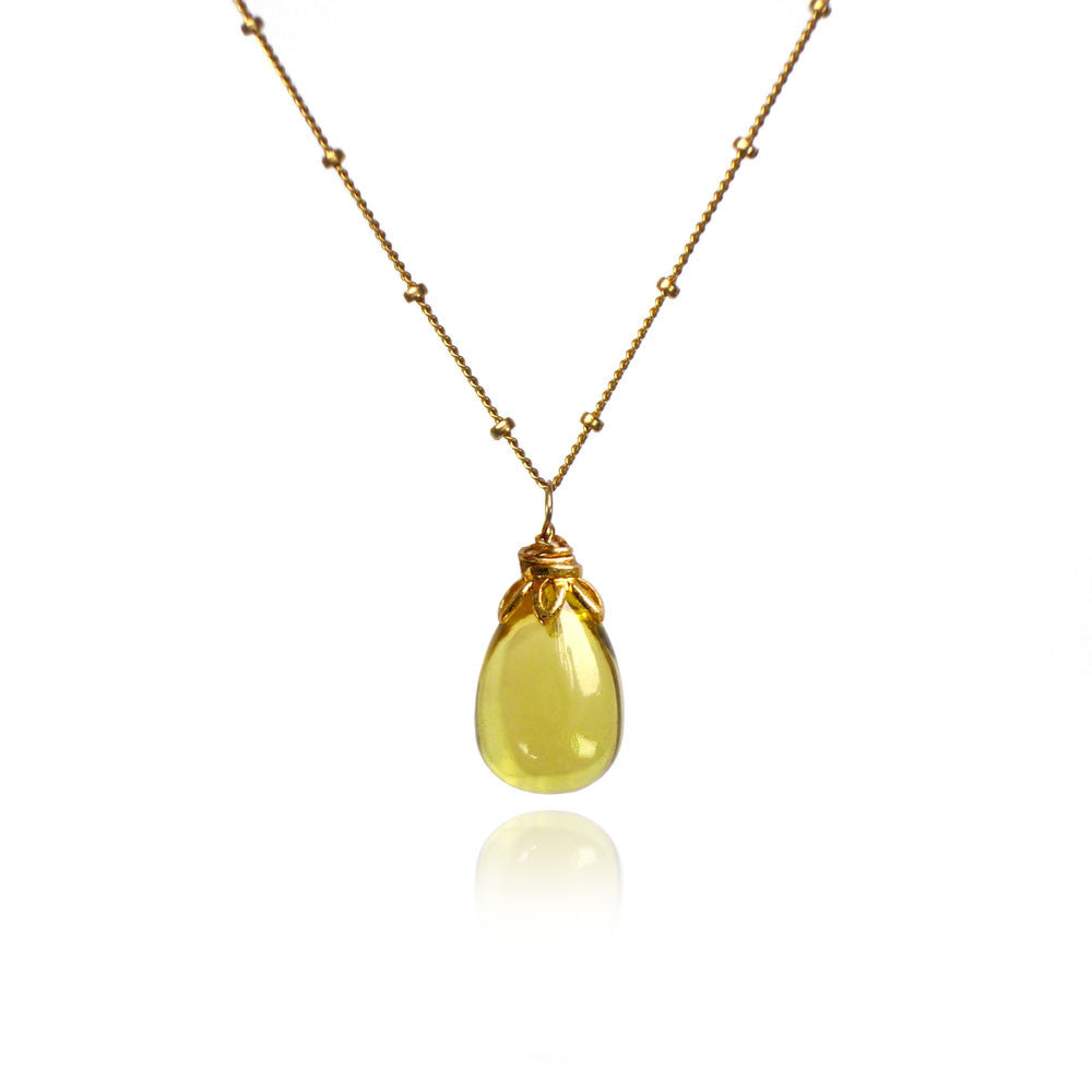 Bonbon - Smooth Lemon Quartz Drop Necklace