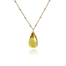 Load image into Gallery viewer, Bonbon - Smooth Lemon Quartz Drop Necklace
