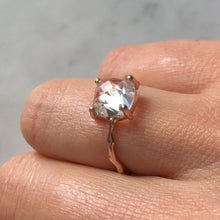 Load image into Gallery viewer, Twig Engagement Ring with Cushion Cut White Topaz